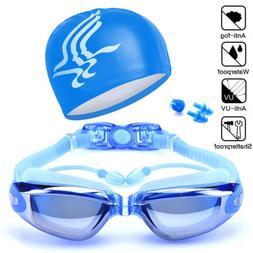 Unisex Swimming Goggles Swim Cap Ear Plugs Nose Clip Anti-Fo
