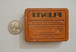 Vtg Antique Pink Wax Ear Plugs 8 FLENTS Orange Tin Box Colle